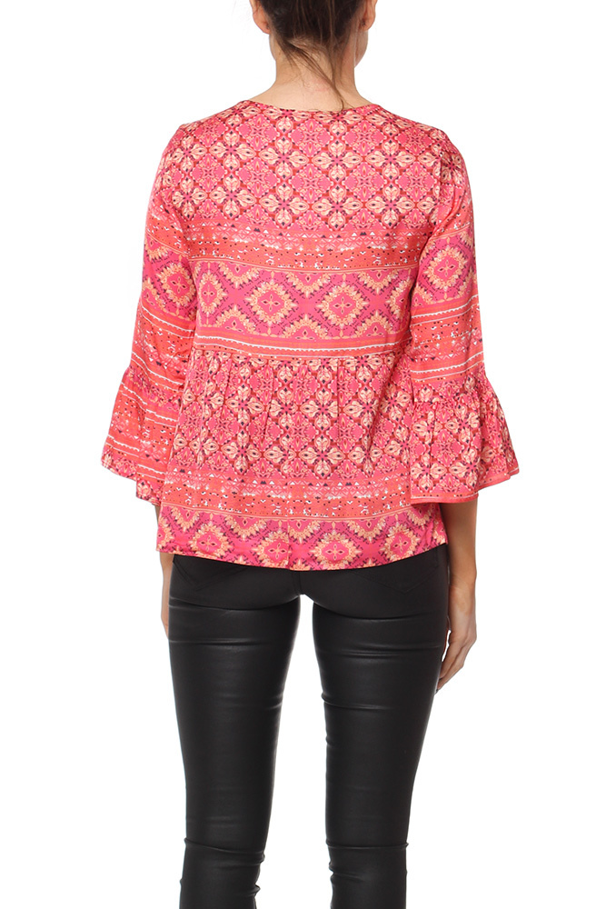 Odd Molly Warm Hearted Tie Blouse Raspberry