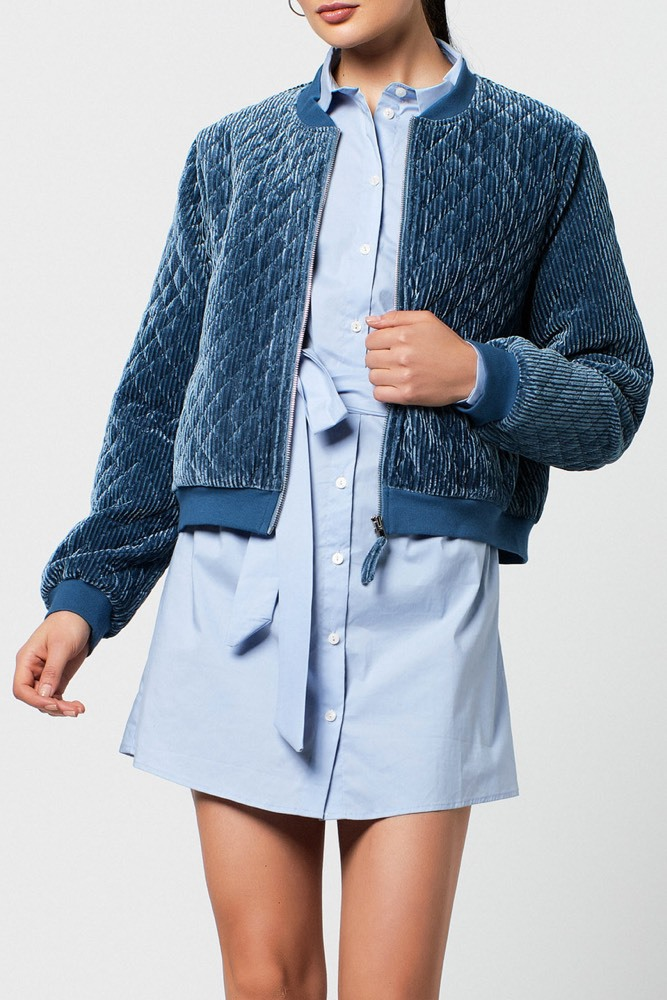Rut & Circle Blair Bomber Jacket Dusty Blue
