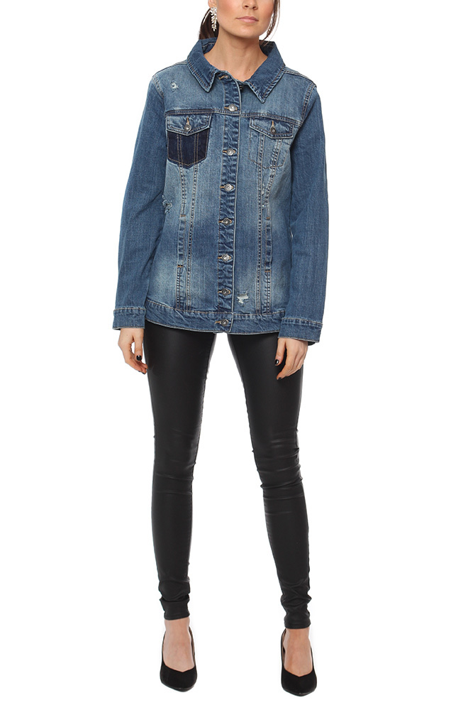 Rut & Circle Long Denim Jacket Blue Wash