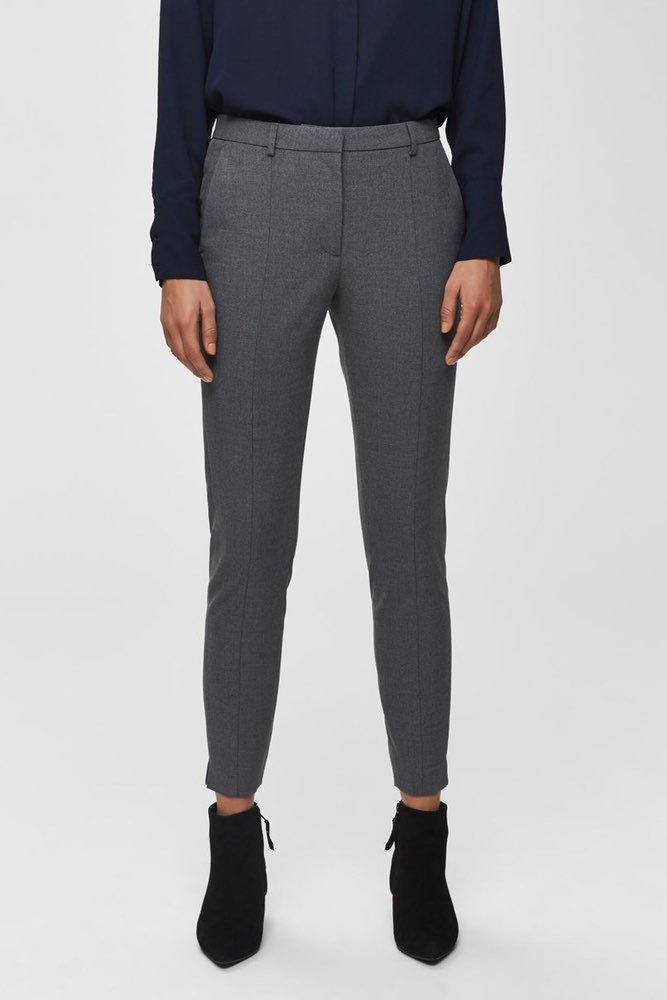 Selected Femme Slfmuse Fie Cropped Pant Medium Grey Mel
