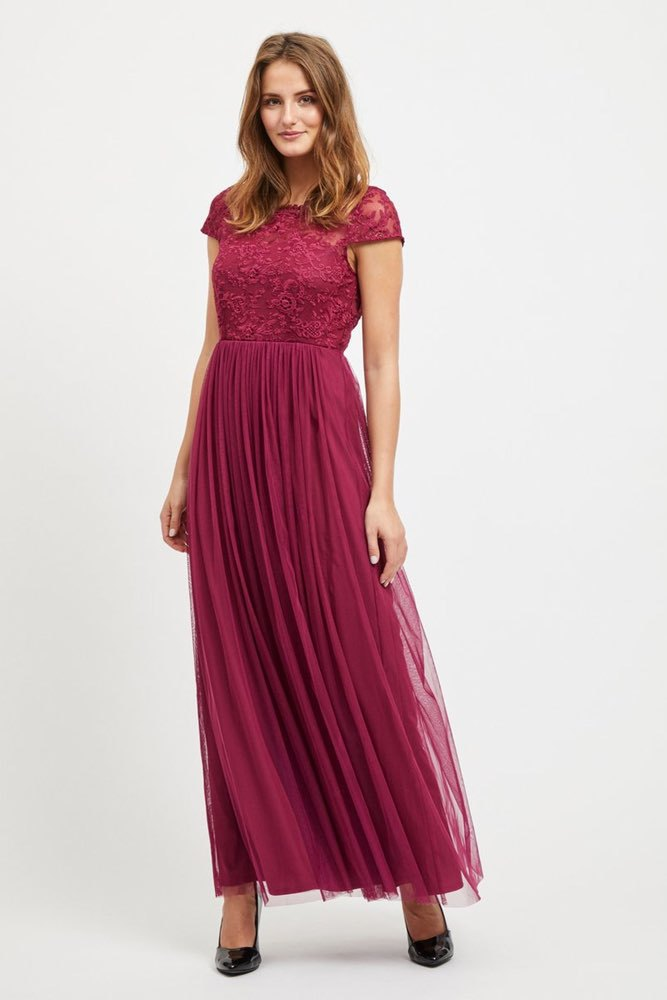 Vila Viulricana S/s Maxi Dress Purple Potion