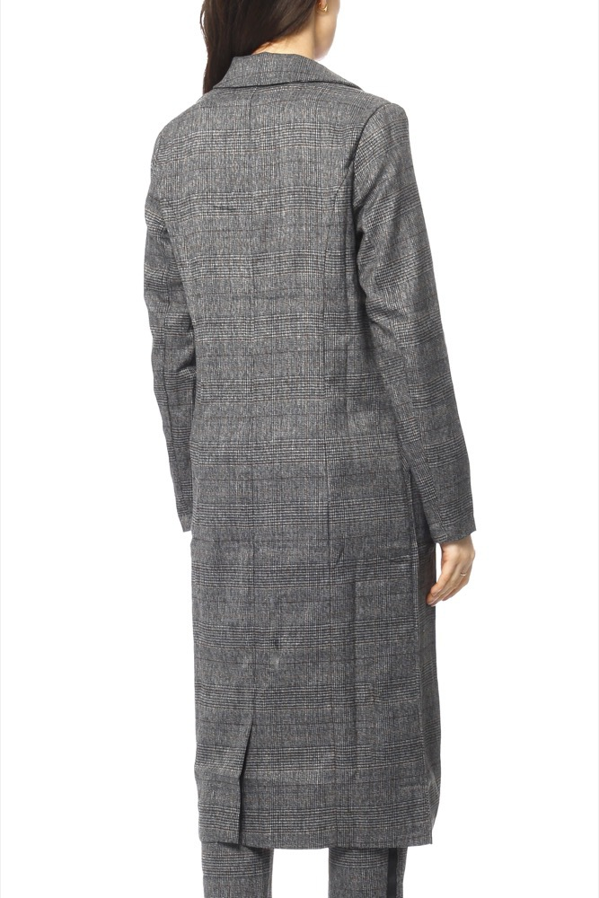 Rut & Circle Dark Checked Long Jacket Check