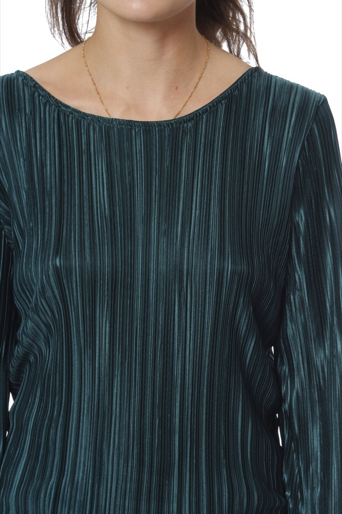 Rut & Circle Pleated Deep Back Top Green
