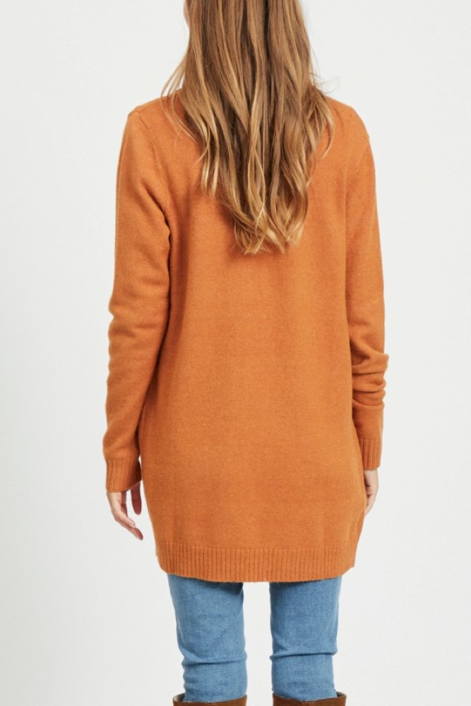 Vila Viril Long Knit Cardigan Pumpkin Spice