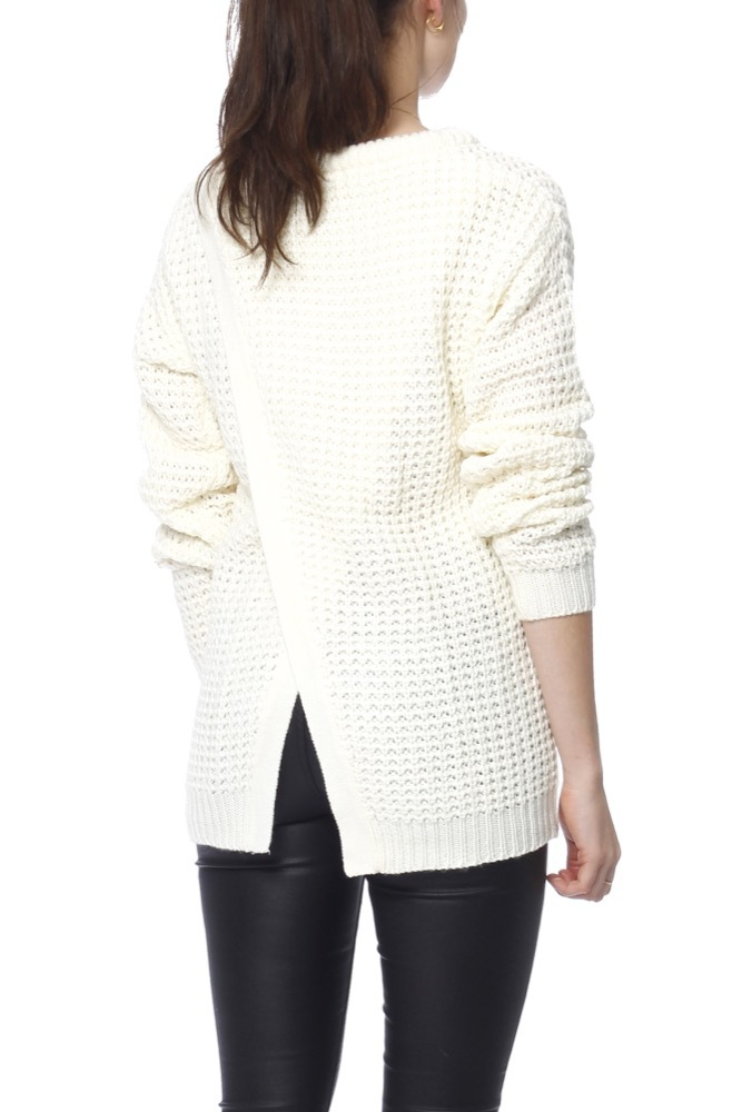 Rut & Circle Samira Open Back Knit White