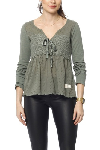 Odd Molly Lace Hug Top Cargo Green