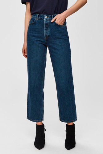 Selected Femme Slfkate Straight Jeans Medium Blue Den