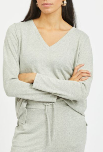 Vila Vilune V-neck L/s Top Superlight Grey
