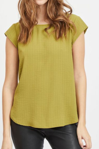 Vila Vilovie Capsleeve Top Green Olive