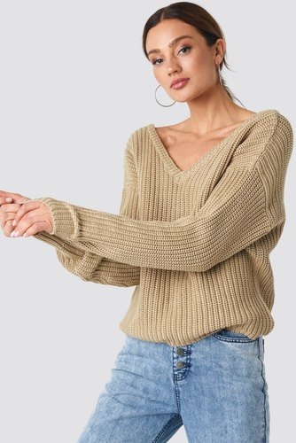 Rut & Circle Sarah V-neck Knit Beige