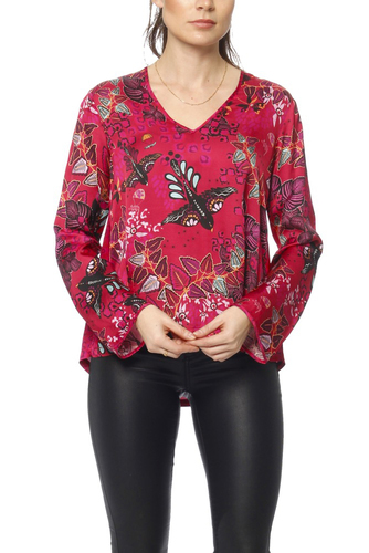 Odd Molly Magic Garden Blouse Garnet Red