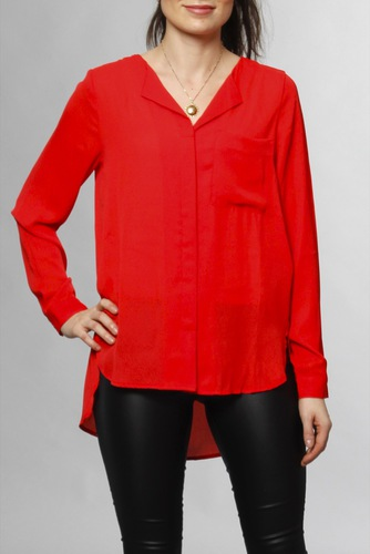 Selected Femme Sfdynella Ls Shirt Poppy Red