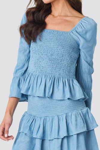 Rut & Circle Hanne Smock Top Denim Blue