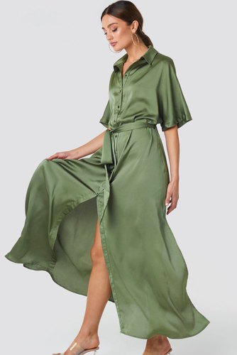 Rut & Circle Tilde Long Dress Khaki Green
