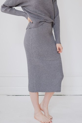 Vila Violiv Knit Pencil Skirt Grey Melange