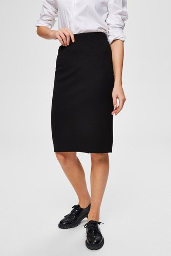 Selected Femme Slfshelly Mw Pencil Skirt Black
