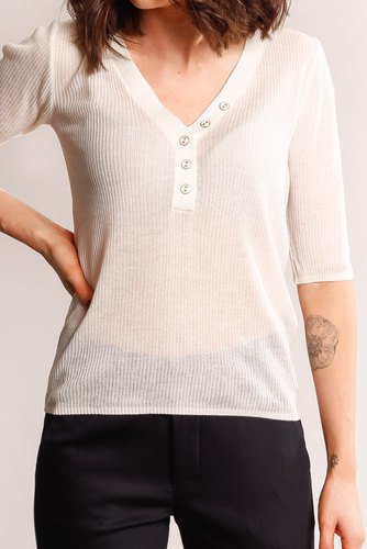 Vila Viwola Knit V-neck Top White Alyssum