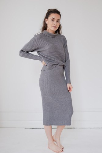 Vila Violiv Knit High Neck L/s Medium Grey Mel