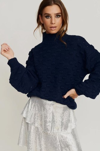 Rut & Circle Liza Jaquard Knit Midnight Navy