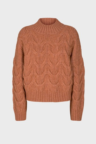 CO'COUTURE Jenesse Cable Knit Canatloupe