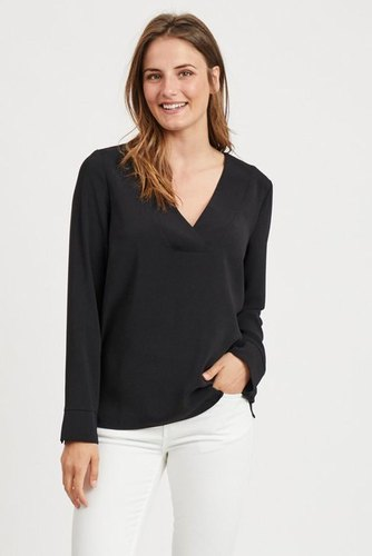 Vila Vilaia L/s V-neck Top Black