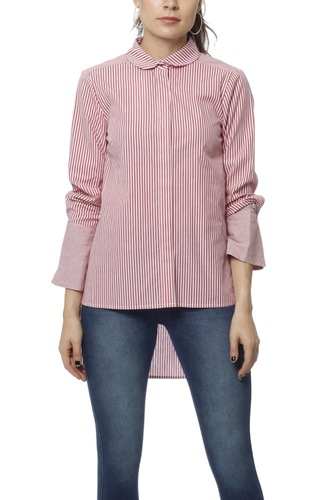 Notes du Nord Item Loose Shirt Bordeaux Stripe