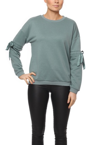 Rut & Circle THORA ELASTIC SLEEVE SWEA DARK GREEN