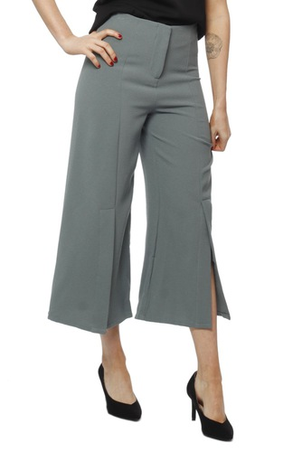 Rut & Circle OFELIA PANT WITH SLIT DUCK GREEN