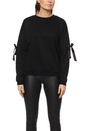 Rut & Circle THORA ELASTIC SLEEVE SWEA BLACK
