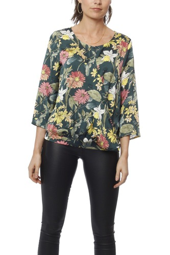 Rut & Circle Flower Wrap Blouse Green