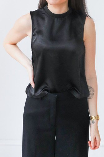 Dr. Denim Destiny Top Black Satin