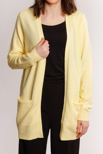 Vila Viril L/s Open Knit Cardigan Mellow Yellow
