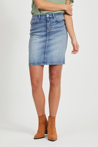 Vila Vicommit Felicia Short Skirt Lt Blue Denim