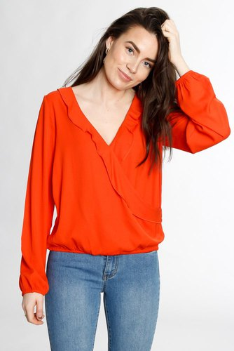 Rut & Circle Jessica Wrap Frill Blouse Red Havana