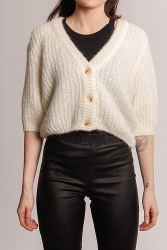 Selected Femme Slfninni Cropped Knit Car Snow White