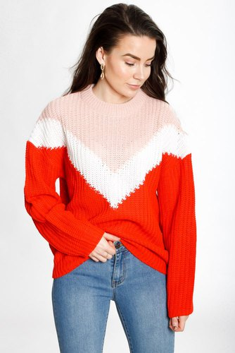 Rut & Circle Block V Knit Pink Comb