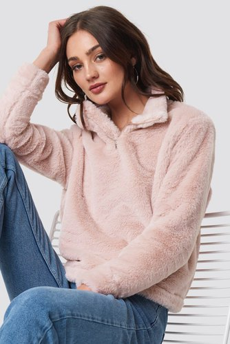 Rut & Circle Alex Fur Sweater Ice Pink