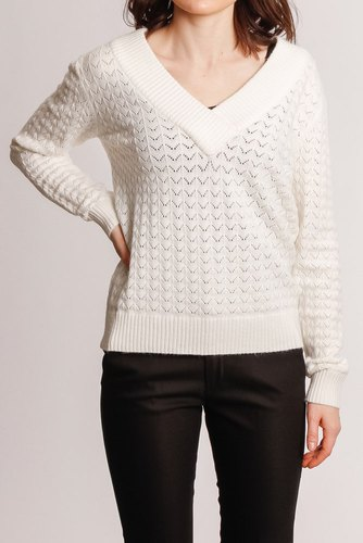 Vila Viril Knit V-neck Detail Whisper White