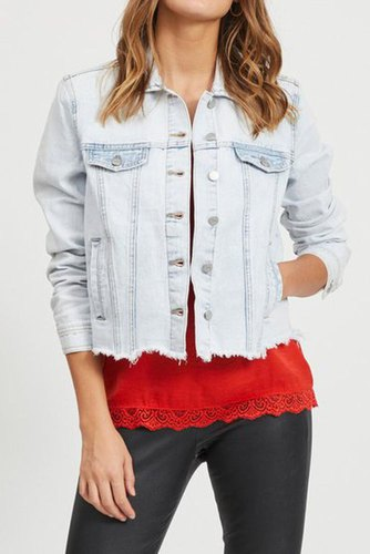 Vila Viannabel Short Denim Jacket Lt Blue Denim