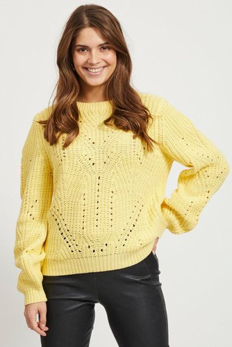 Vila Viwishi Knit O-neck L/s Mellow Yellow