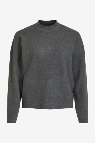 Vila Violivinja Knit High Neck Top Dk Grey Melange