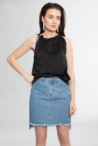 Vila Vilues Hw Slit Skirt/1 Lt Blue Denim