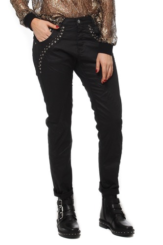 Please NC LL STUDS COATED NERO DENIM
