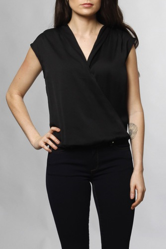 Neo Noir Caroline Satin Top Black