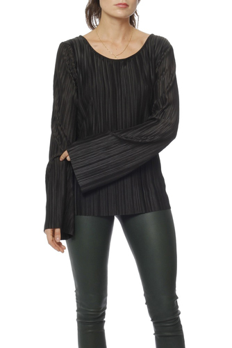 Rut & Circle Pleated Deep Back Top Black