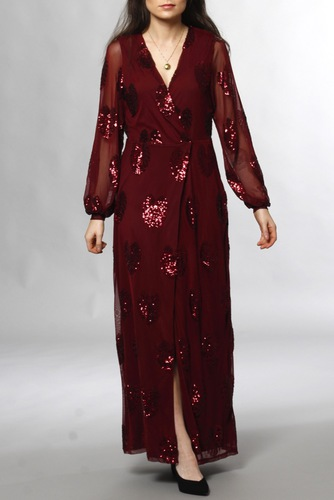 Vila Vicher L/s Maxi Dress Tawny Port