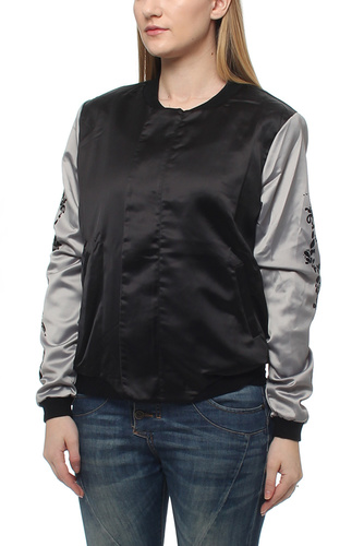 CINDY PRINT BOMBER JKT BLACK/GREY