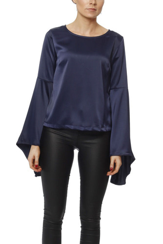 Rut & Circle PETRA WIDE SLEEVE BLOUSE DARK NAVY