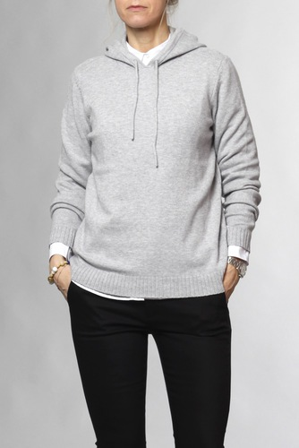 Vila Viril L/s Hoodie Knit-fav Light Grey Mel