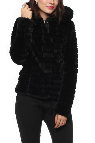Vila VIMAYA FAUX FUR JACKET/GV BLACK